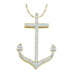 0.15 CTW Diamond Anchor Nautical Pendant 10KT Yellow Gold - REF-18K2W