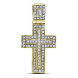 0.25 CTW Mens Diamond Layered Cross Charm Pendant 10KT Yellow Gold - REF-34K4W