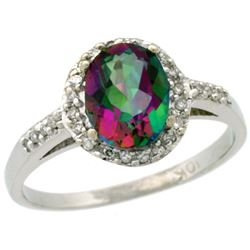 Natural 1.3 ctw Mystic-topaz & Diamond Engagement Ring 10K White Gold - REF-25M9H