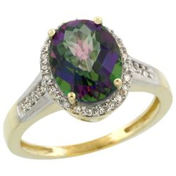 Natural 2.49 ctw Mystic-topaz & Diamond Engagement Ring 14K Yellow Gold - REF-42N2G