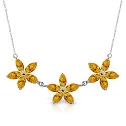 Genuine 4.2 ctw Citrine Necklace Jewelry 14KT White Gold - REF-60V7W