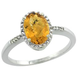 Natural 1.2 ctw Whisky-quartz & Diamond Engagement Ring 14K White Gold - REF-22H8W