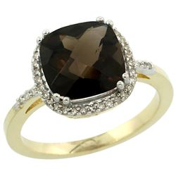 Natural 4.11 ctw Smoky-topaz & Diamond Engagement Ring 14K Yellow Gold - REF-44Z2Y