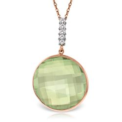 Genuine 18.08 ctw Green Amethyst & Diamond Necklace Jewelry 14KT Rose Gold - REF-65W8Y