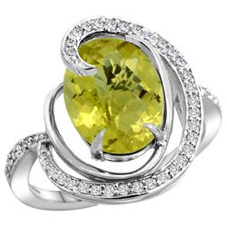 Natural 6.53 ctw lemon-quartz & Diamond Engagement Ring 14K White Gold - REF-70A6V