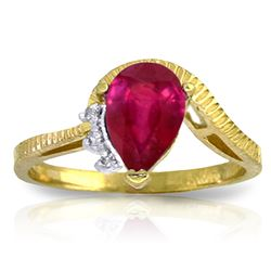 Genuine 1.52 ctw Ruby & Diamond Ring Jewelry 14KT Yellow Gold - REF-56R5P