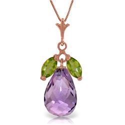 Genuine 7.2 ctw Amethyst & Peridot Necklace Jewelry 14KT Rose Gold - REF-30Y5F