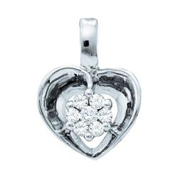 0.08 CTW Diamond Small Heart Cluster Pendant 10KT White Gold - REF-8M9H