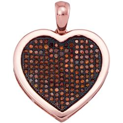 0.50 CTWRed Color Diamond Heart Love Cluster Pendant 10KT Rose Gold - REF-43Y4X