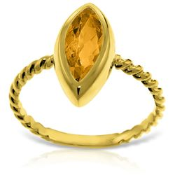 Genuine 1.70 ctw Citrine Ring Jewelry 14KT Yellow Gold - REF-39V3W