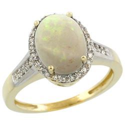 Natural 2.49 ctw Opal & Diamond Engagement Ring 10K Yellow Gold - REF-31V5F
