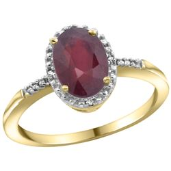 Natural 1.5 ctw Ruby & Diamond Engagement Ring 10K Yellow Gold - REF-31K3R