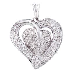 1 CTW Diamond Heart Love Pendant 14KT White Gold - REF-119M9H