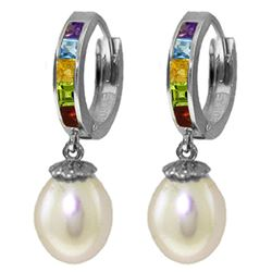 Genuine 9 ctw Pearl, Amethyst & Blue Topaz Earrings Jewelry 14KT White Gold - REF-43Y2F