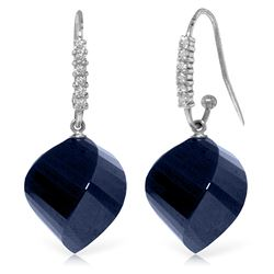 Genuine 30.68 ctw Sapphire & Diamond Earrings Jewelry 14KT White Gold - REF-67W3Y