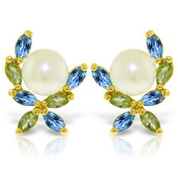 Genuine 3.25 ctw Blue Topaz & Peridot Earrings Jewelry 14KT Yellow Gold - REF-30M2T