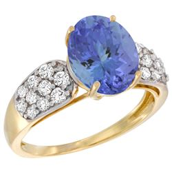Natural 2.74 ctw tanzanite & Diamond Engagement Ring 14K Yellow Gold - REF-104F9N