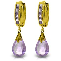 Genuine 6.85 ctw Amethyst Earrings Jewelry 14KT White Gold - REF-49W6Y
