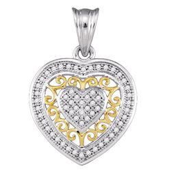 0.15 CTW Diamond Openwork Heart Pendant 10KT Two-tone Gold - REF-19K4W
