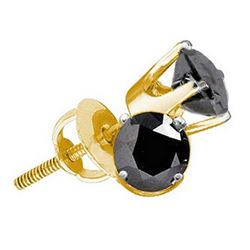 0.25 CTW Black Color Diamond Solitaire Earrings 14KT Yellow Gold - REF-10F5N