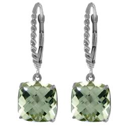 Genuine 7.2 ctw Green Amethyst Earrings Jewelry 14KT White Gold - REF-42F7Z