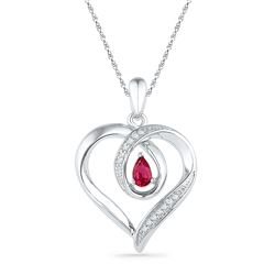 0.05 CTW Pear Created Ruby Diamond Heart Pendant 10KT White Gold - REF-18F2N