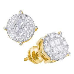 1.5 CTW Princess Diamond Soleil Cluster Earrings 14KT Yellow Gold - REF-149N9F