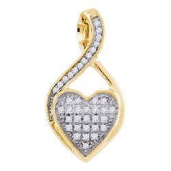0.10 CTW Diamond Heart Cluster Pendant 10KT Yellow Gold - REF-7K4W