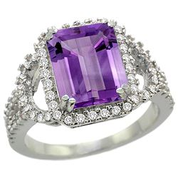 Natural 3.08 ctw amethyst & Diamond Engagement Ring 14K White Gold - REF-106X3A