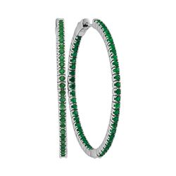 3 CTW Emerald Large Slender In/Out Hoop Earrings 14KT White Gold - REF-134Y9X