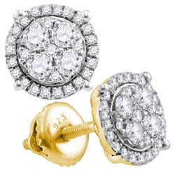 0.50 CTWDiamond Circle Cluster Earrings 10KT Yellow Gold - REF-37X5Y