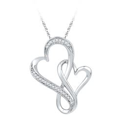0.10 CTW Diamond Double Entwined Heart Pendant 10KT White Gold - REF-12W2K