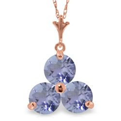 Genuine 0.75 ctw Tanzanite Necklace Jewelry 14KT Rose Gold - REF-23T2A