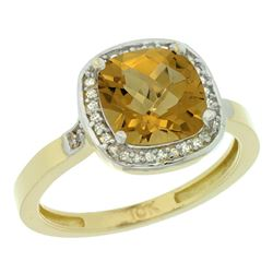 Natural 3.94 ctw Whisky-quartz & Diamond Engagement Ring 10K Yellow Gold - REF-27A9V