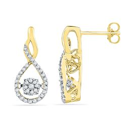 0.33 CTW Diamond Moving Cluster Earrings 10KT Yellow Gold - REF-37N5F