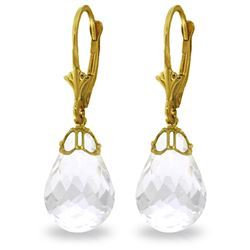 Genuine 14 ctw White Topaz Earrings Jewelry 14KT Yellow Gold - REF-34W3Y
