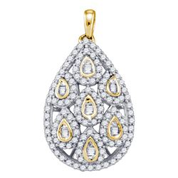 0.94 CTW Diamond Teardrop Pendant 10KT Yellow Gold - REF-67N4F