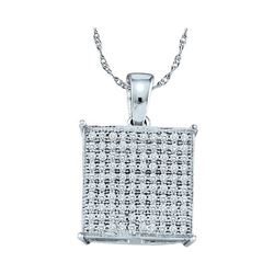 0.30 CTW Pave-set Diamond Square Cluster Pendant 10KT White Gold - REF-24H2M