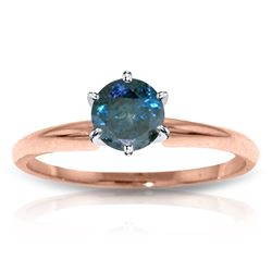 Genuine 0.50 ctw Blue Diamond Ring Jewelry 14KT Rose Gold - REF-135Y8F