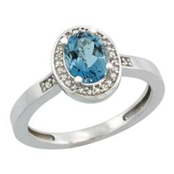 Natural 1.08 ctw London-blue-topaz & Diamond Engagement Ring 10K White Gold - REF-25W6K