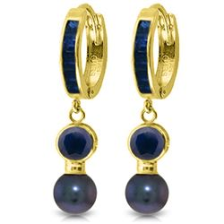 Genuine 4.65 ctw Sapphire & Black Pearl Earrings Jewelry 14KT Yellow Gold - REF-54A6K