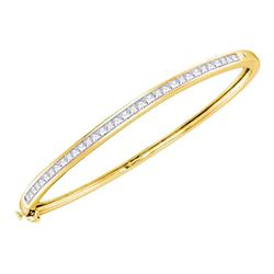 2 CTW Princess Diamond Bangle Bracelet 14KT Yellow Gold - REF-240M2H