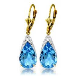 Genuine 12 ctw Blue Topaz Earrings Jewelry 14KT Yellow Gold - REF-57P6H