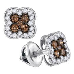 0.50 CTWCognac-brown Color Diamond Square Cluster Earrings 10KT White Gold - REF-25X4Y