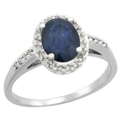 Natural 1.57 ctw Blue-sapphire & Diamond Engagement Ring 14K White Gold - REF-45X2A
