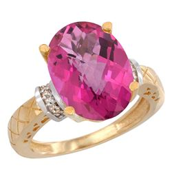 Natural 5.53 ctw Pink-topaz & Diamond Engagement Ring 14K Yellow Gold - REF-60H3W