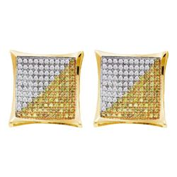 0.15 CTW Mens Color Diamond Square Kite Cluster Earrings 10KT Yellow Gold - REF-11M2H
