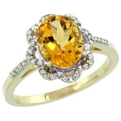 Natural 1.85 ctw Citrine & Diamond Engagement Ring 10K Yellow Gold - REF-29R3Z