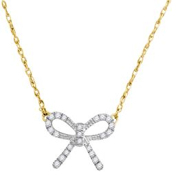 0.11 CTW Diamond Knot Bow Pendant 10KT Yellow Gold - REF-9F7N
