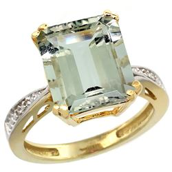 Natural 5.42 ctw green-amethyst & Diamond Engagement Ring 10K Yellow Gold - REF-57Z3Y
